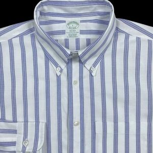 Brooks Brothers Milano Mens White Striped